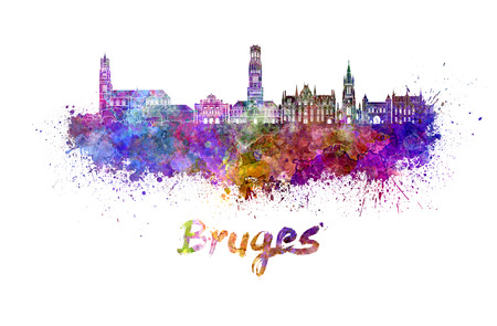 bruges: Bruges skyline in watercolor splatters with clipping path