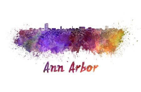 arbor: Ann Arbor skyline in watercolor splatters with clipping path