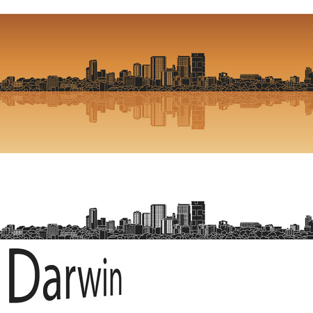 darwin: Darwin skyline in orange background in editable vector file Illustration