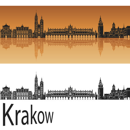horizon reflection: Krakow skyline in orange background in editable vector file Illustration