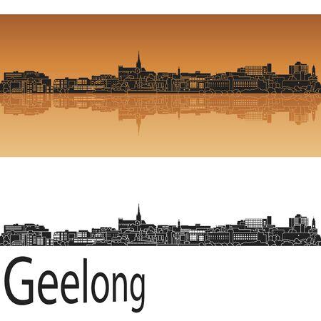 australia landscape: Geelong skyline in orange background in editable vector file