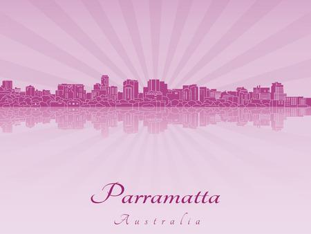 radiant: Parramatta skyline in purple radiant orchid in editable vector file