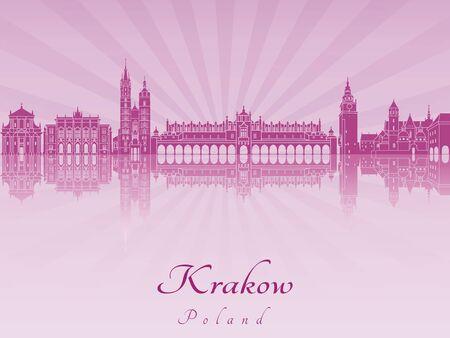 Cracovie horizon en violet orchidée rayonnante dans le fichier vectoriel éditable Banque d'images - 41505286