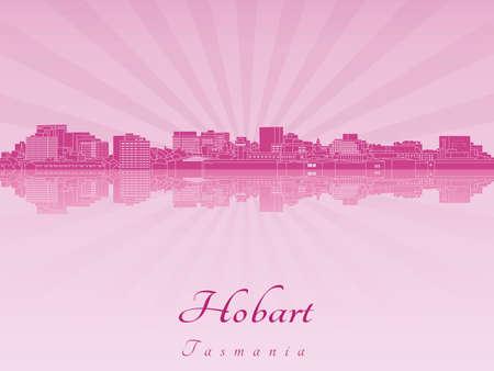 radiant: Hobart skyline in purple radiant orchid in editable vector file Illustration