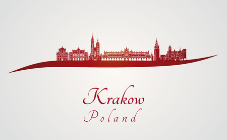 Krakow skyline in red and gray background in editable vector file Vetores
