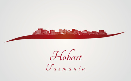 tasmania: Hobart skyline in red and gray background in editable vector file