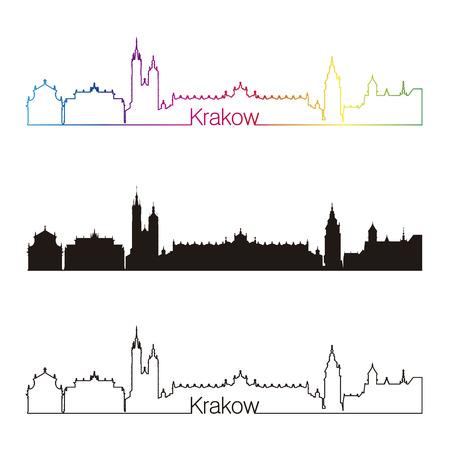 Krakow skyline linear style with rainbow in editable vector file