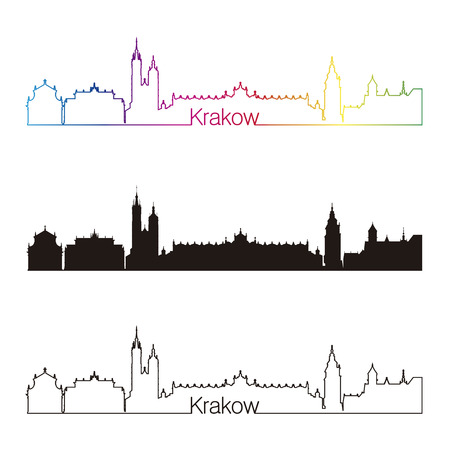 Krakow skyline linear style with rainbow in editable vector file