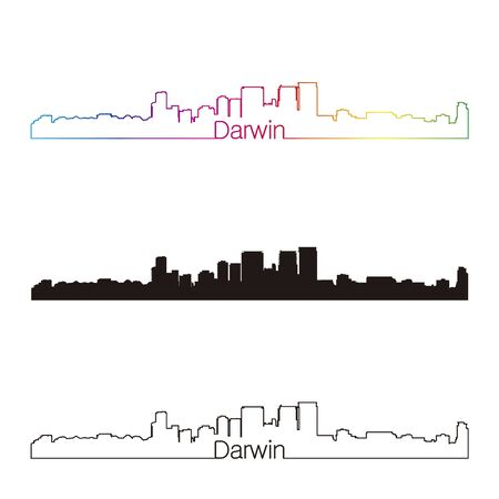 darwin: Darwin skyline linear style with rainbow in editable vector file