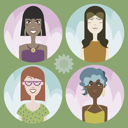 01: Set of four cartoon avatars  girls 01 in editable vector file