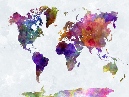 colorful: World map in watercolor painting abstract splatters