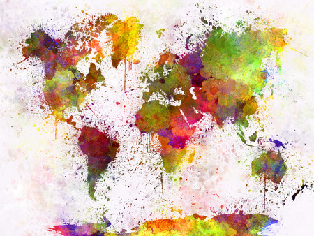 world design: World map in watercolor painting abstract splatters