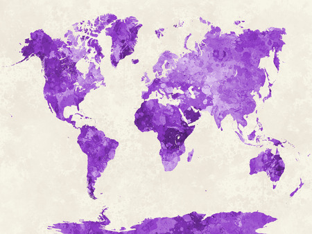 travel map: World map in watercolor painting abstract splatters