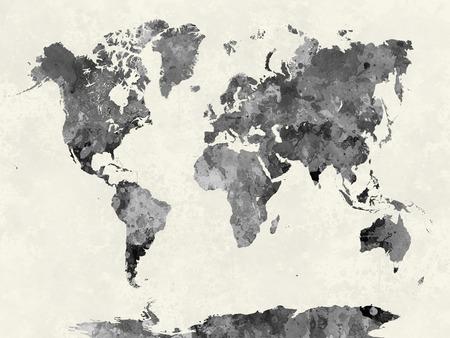 水彩の抽象絵画で世界地図が飛び散っ