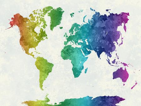 V akvarel malování Abstraktní stříkance Mapa světa
