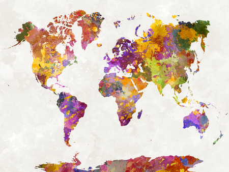 earth color: World map in watercolor painting abstract splatters