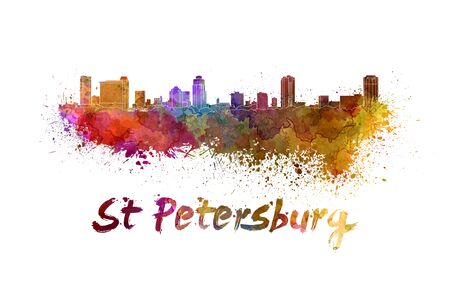 St Petersburg FL skyline in watercolor splatters with clipping path