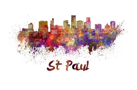 paul: St Paul skyline in watercolor splatters with clipping path