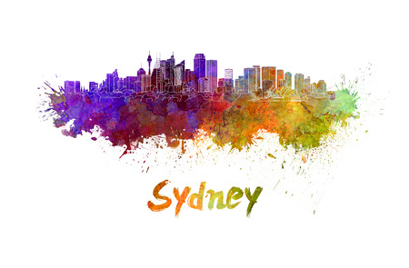 Sydney v2 skyline in watercolor splatters with clipping path