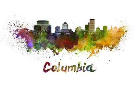 columbia: Columbia skyline in watercolor splatters with clipping path Stock Photo