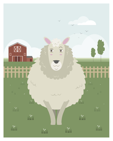 granary: Sheep in a meadow in editable vector file Illustration
