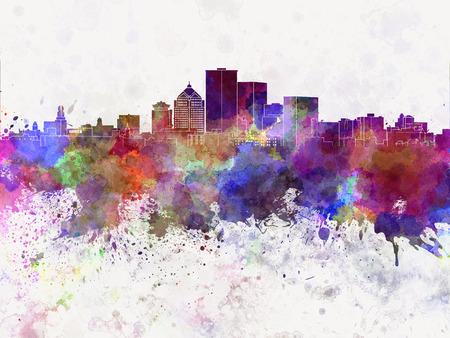 水彩画背景でロチェスター ニューヨーク スカイライン 写真素材