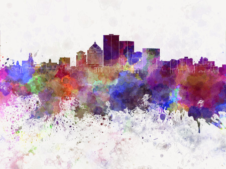new york skyline: Rochester NY skyline in watercolor background