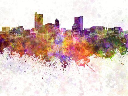 Fort Wayne skyline in watercolor background Stock Photo