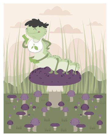inchworm: Inchworm eating up a mushroom in editable vector file Illustration