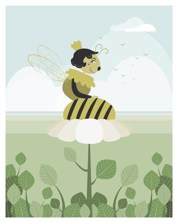 abeja reina: Reina abeja descansando sobre una flor en el archivo vectorial editable Vectores