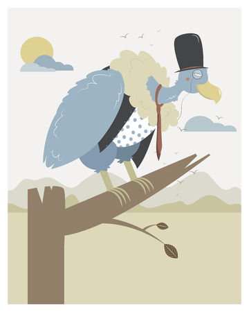funny pictures: Vulture waiting in a branch in editable vector file Illustration