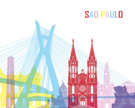 Sao Paulo skyline pop in editable vector file