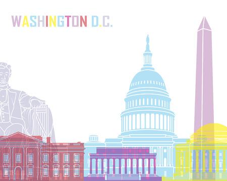 編集可能なベクトル ファイルでポップ ワシントン DC のスカイライン  イラスト・ベクター素材