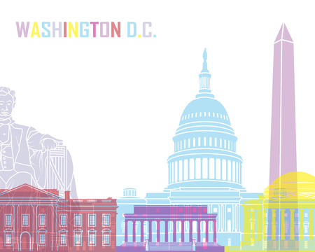 Washington DC skyline pop in editable vector file Illustration