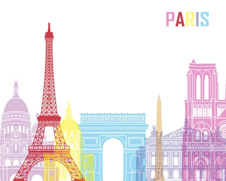 paris: Paris skyline pop in editable vector file Illustration