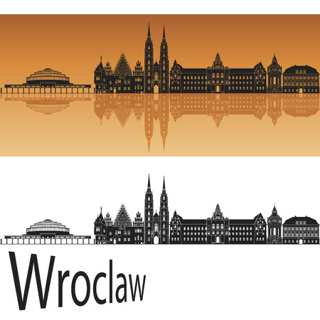 wroclaw: Wroclaw skyline in orange background in editable vector file
