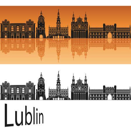 lublin: Lublin skyline in orange background in editable vector file