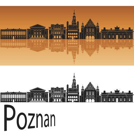 poland: Poznan skyline in orange background in editable vector file Illustration