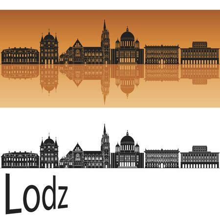 poland: Lodz skyline in orange background in editable vector file Illustration