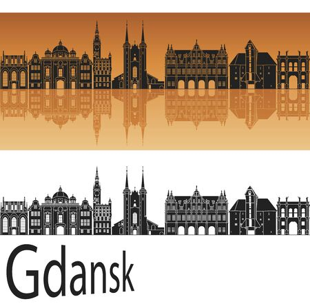 gdansk: Gdansk skyline in orange background in editable vector file