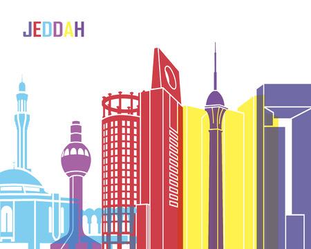 editable: Jeddah skyline pop in editable vector file