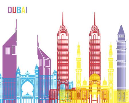 monument: Dubai skyline pop in editable vector file Illustration