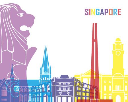 Singapore skyline pop in editable vector file