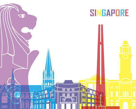 Singapore skyline pop in editable vector file