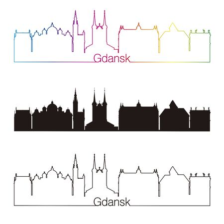 gdansk: Gdansk skyline linear style with rainbow in editable vector file