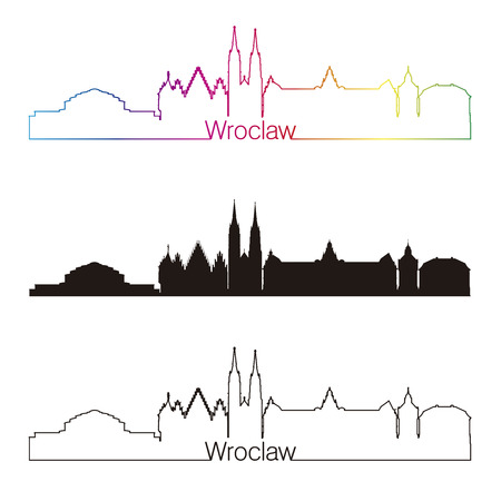 wroclaw: Wroclaw skyline linear style with rainbow in editable vector file Illustration