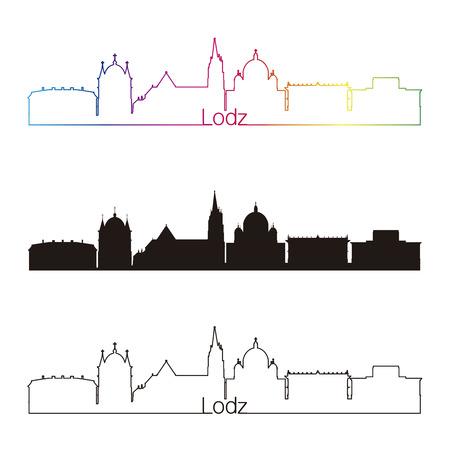 poland: Lodz skyline linear style with rainbow in editable vector file Illustration