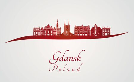 gdansk: Gdansk skyline in red and gray background in editable vector file