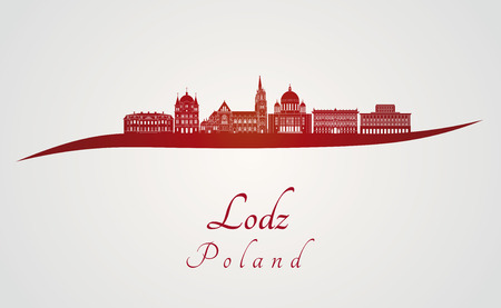 poland: Lodz skyline in red and gray background in editable vector file