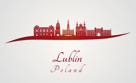 lublin: Lublin skyline in red and gray background in editable vector file